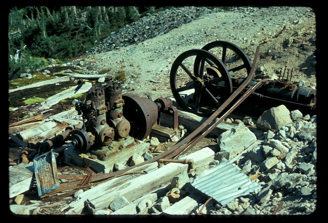 Rusty machinery left from mining days.