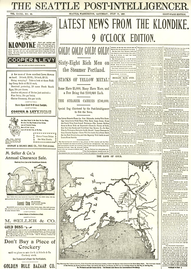 Seattle newspaper headline announcing gold discovery