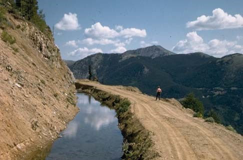 View of the Grand Ditch and mountains in the background