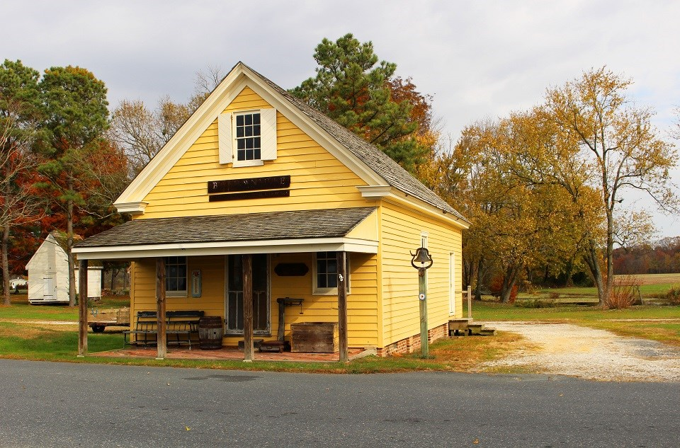 Historic one-story yellow shop