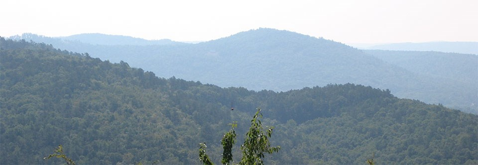 Photo overlooking mountain ridges at Hot Springs National Park.