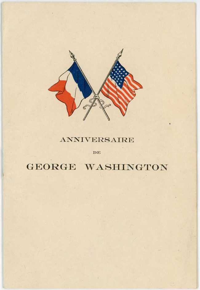 Cover of pamphlet with title and crossed French and American flags
