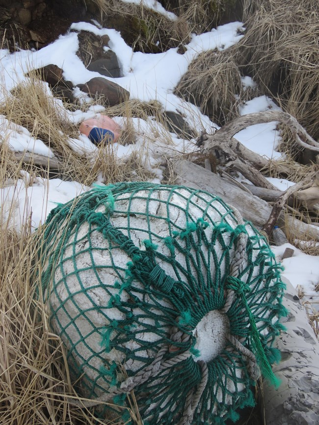 Abandoned fishing gear on the beach
