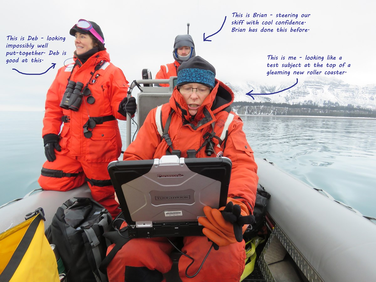 Researchers on skiff