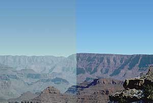 Simulation of 20% haziest days in 1990 (left) and 20% cleanest days in 2015 (right) from Hopi Point to Desert View, Grand Canyon National Park.