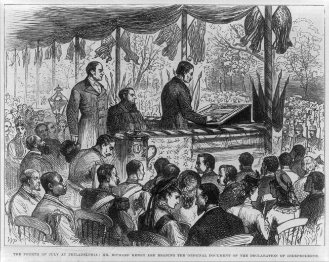 An illustration is of Richard Henry Lee (grandson) reading the actual engrossed copy of the Declaration of Independence on 4 July 1876 just before Susan B. Anthony and others stormed the stage with their Women's Declaration.