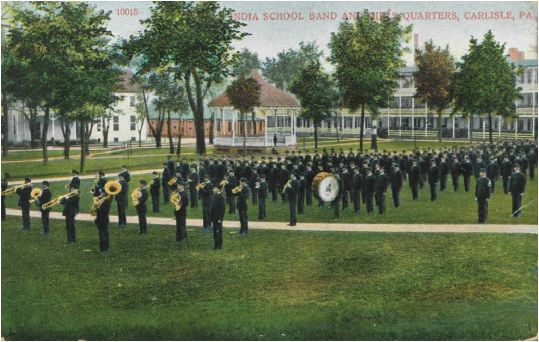 Young men in military uniforms playing instruments