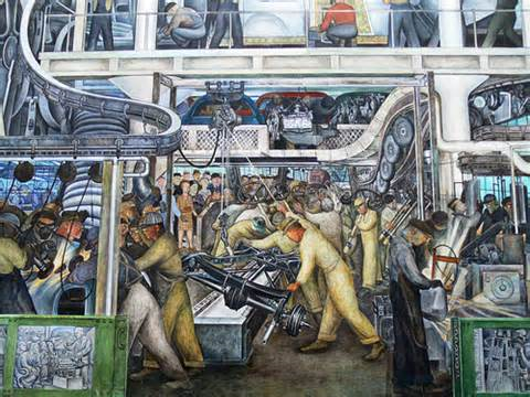 Colorful painting of industrial workers working on cars.