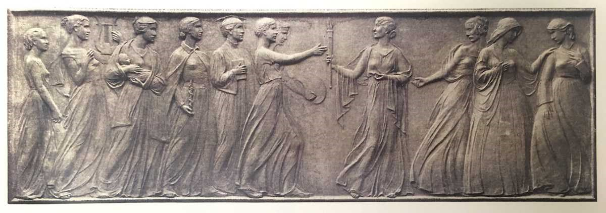 Bronze bas-relief depicting a procession of women through history