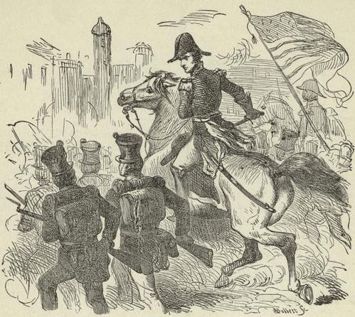 A pencil sketch of soldiers marching into a city, in the center is an officer on horseback yell orders to the soldiers.