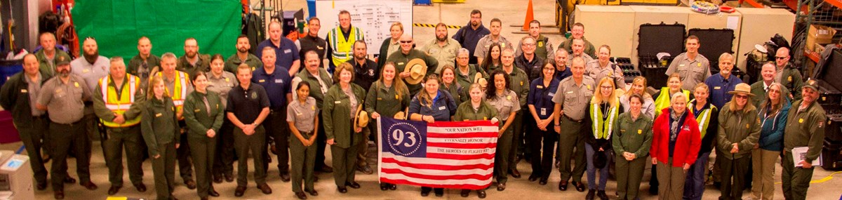 Members of the Eastern Incident Management Team and employees of Flight 93 National Memorial. NPS photo: Martz.
