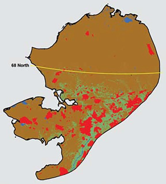 A brown-colored section of Alaska depicted in a graphic with red polygon burn areas.