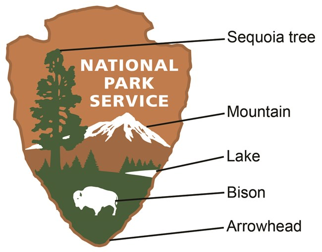 National Park Service Arrowhead with Sequoia tree, mountain, lake, bison, and arrowhead labeled