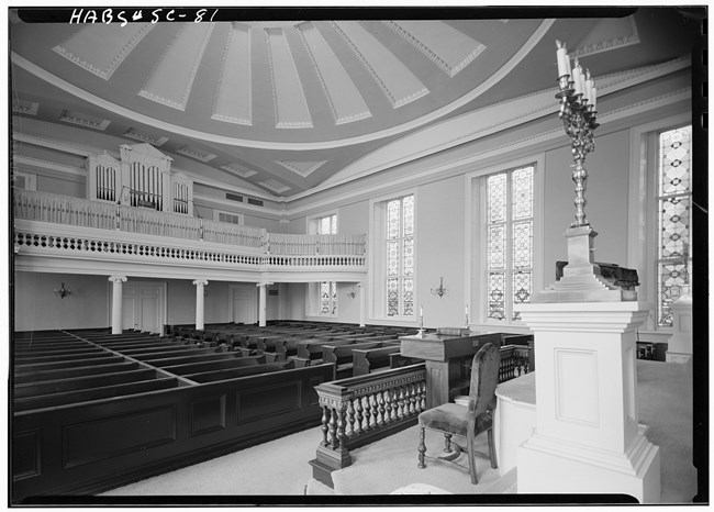 Interior of the Kahal Kadosh Beth Elohim Synagogue in Greek Revival style