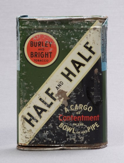 "Image of green colored tobacco can reading ""Half and Half"""