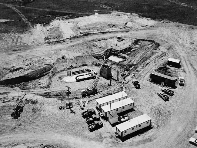 Arial view of construction at a control center site