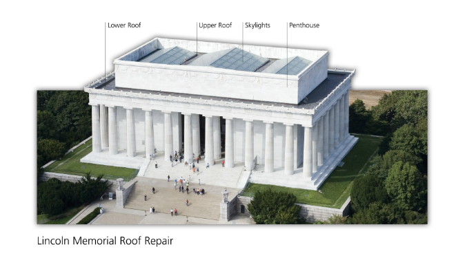 Image of Lincoln Memorial showing various areas where roof replacement will occur