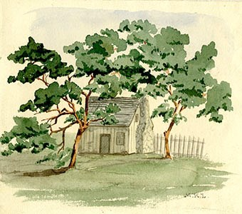Watercolor of one-story building behind two trees