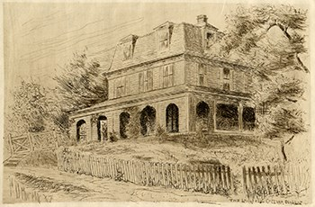 Print of a three-story house with covered porch on two sides