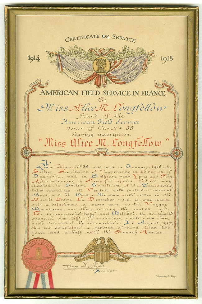 Printed certificate from the American Field Service in France to Miss Alice M. Longfellow, decorated in red, white, and blue with crossed US and French flags