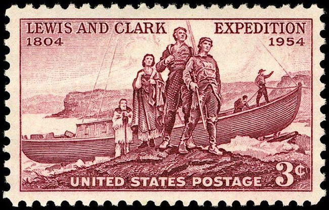 1954 postage stamp commemorating Lewis and Clark expedition