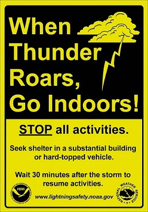 "Lightning safety sign that states, ""When Thunder Roars, Go Indoors"" from the National Weather Service"