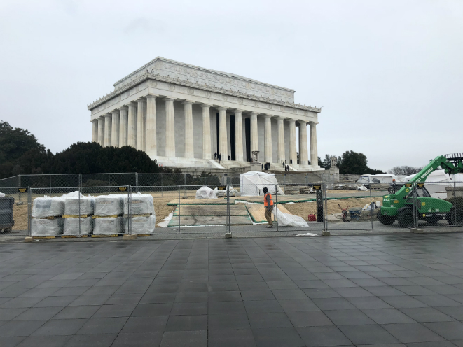Lincoln Memorial pathways under construction