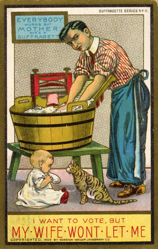 Anti-women's suffrage postcard depicting a man taking over the domestic duties including washing laundry and taking care of a baby. Courtesy of the Curt Teich Postcard Archives Digital Collection (Newberry Library, from the Brian L. Bossier Collection, BB