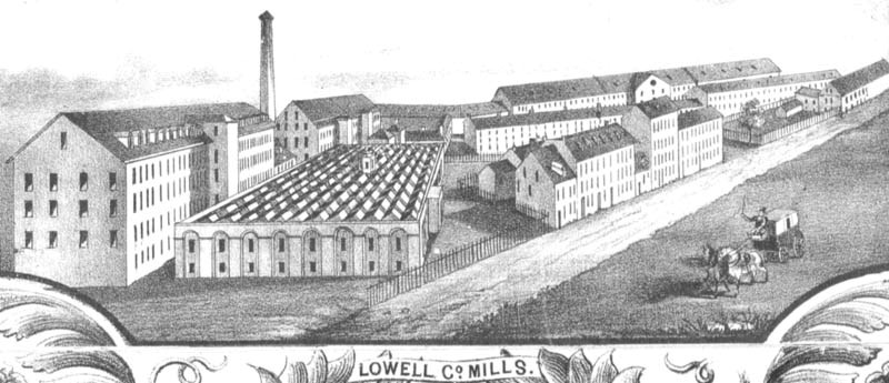 Detail of Lowell Mills from Map of Lowell by Sidney and Neff 1850. Public Domain