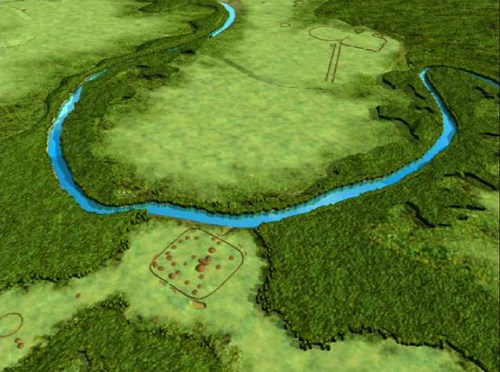 A CGI showing a winding river in the middle of thick forest and cleared green land