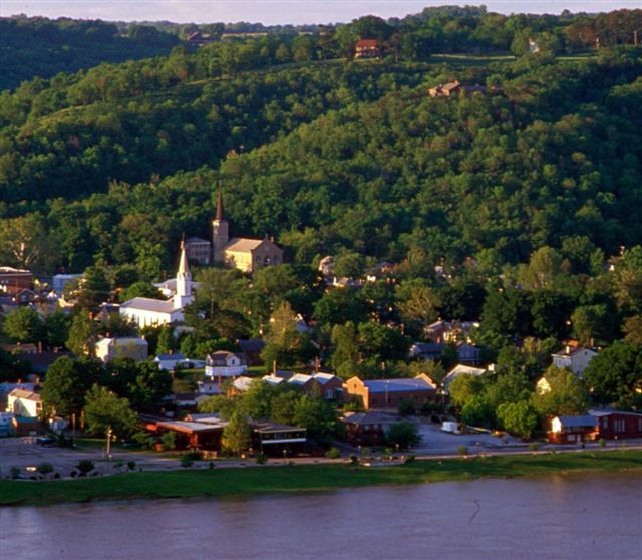 The town of Madison with houses and buildings.