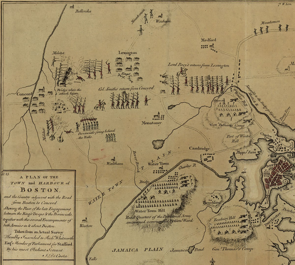 Old map of Boston and Concord.