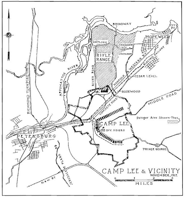 Black and white map showing Camp Lee near Petersburg, Virginia