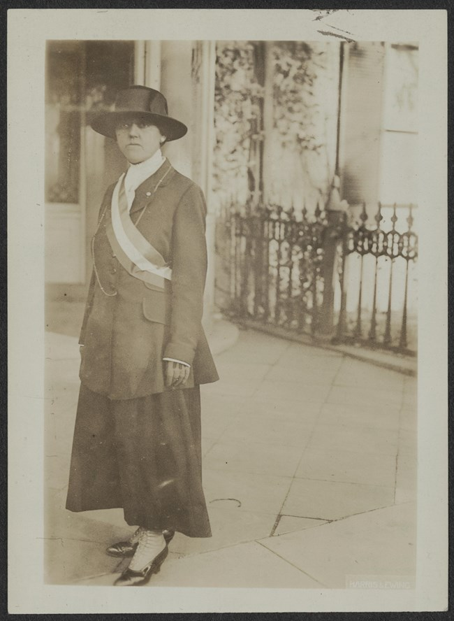 Minnie Hennessy of Connecticut picketed the White House in protest of women's suffrage rights. She was arrested and sentenced to six months at Occoquan Workhouse. Library of Congress, Records of the National Woman's Party Collection.
