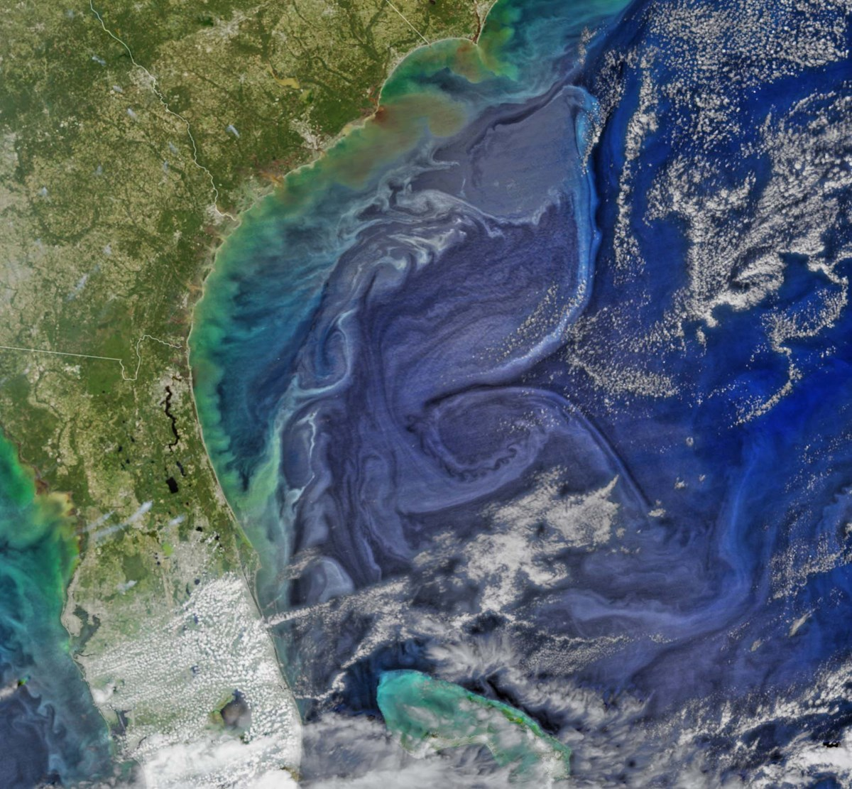 aerial view of ocean currents