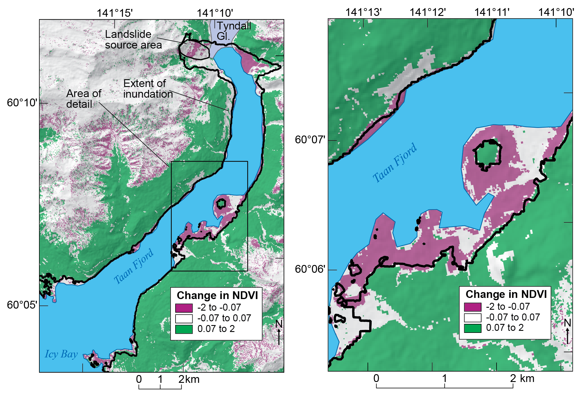 Satellite imagery of vegetation loss caused by the tsunami.