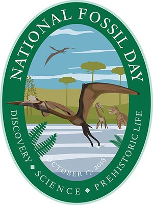 national fossil day 2018 oval artwork with pterosaur flying