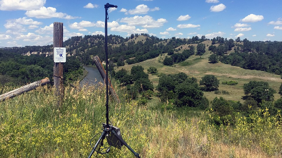 Bat acoustic monitoring equipment on the bluffs looking over the Niobrara River