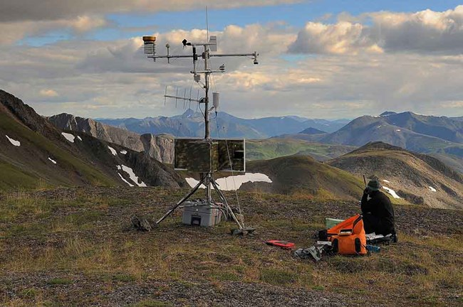 A climate station in the alpine tundra of the Arctic.