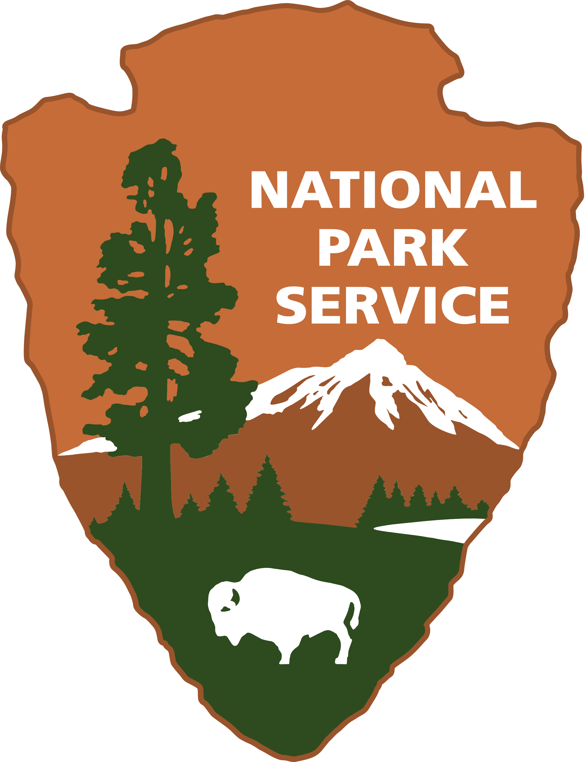 NPS Arrowhead logo. Shows a mountain in the background, with a tree, bison, and lake in the foreground. Grass and tree are green. The bison, lake, and snow on the mountain are white. Sky and mountain is brown.
