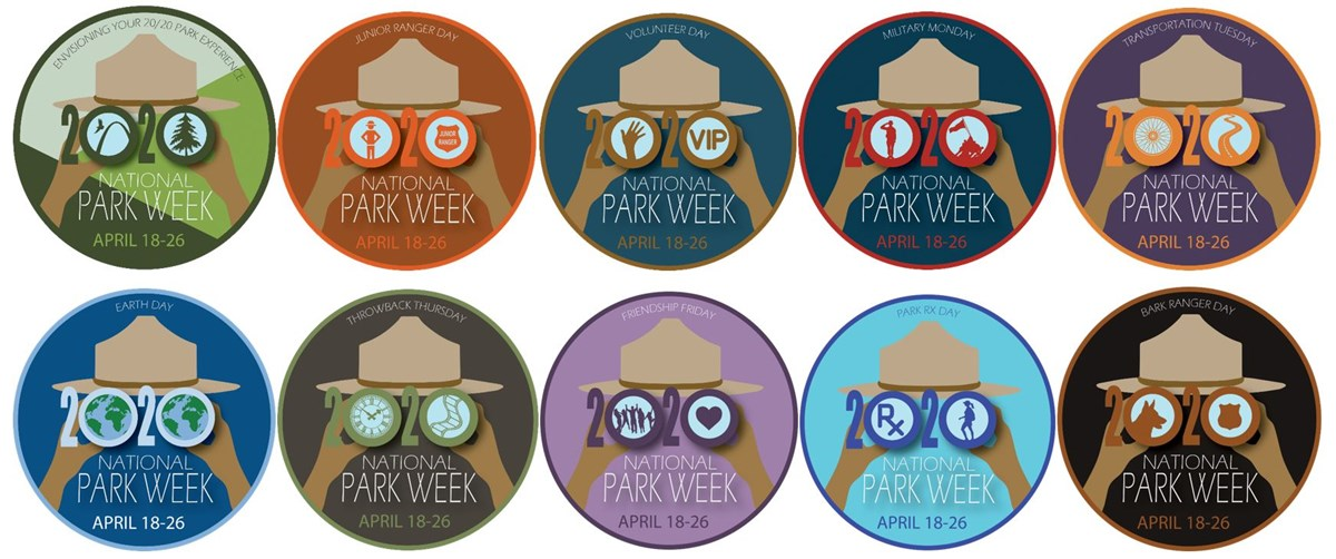 Series of ten logos for National Park Week, including one for the entire week and one for each of the nine theme days