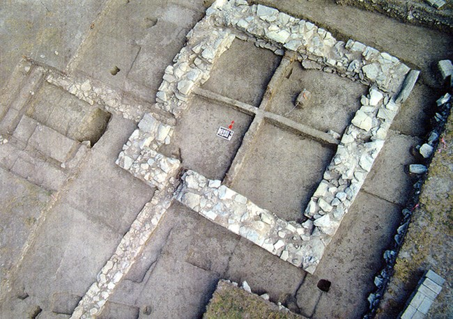 Northeast bastion foundation uncovered during excavations.