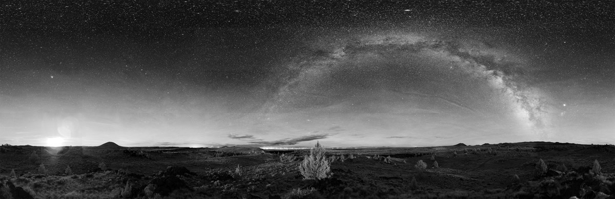 Panorama of the night sky in Lava Beds National Monument