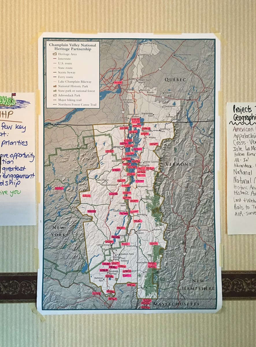 Workshop participants completed a map of projects in the Champlain NHP to visualize potential areas of collaboration