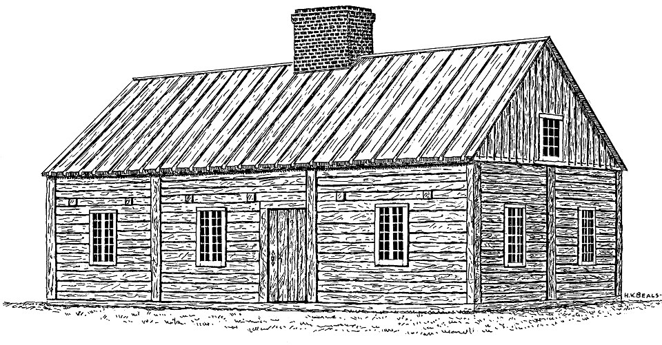 Drawing a rectangular wooden building.