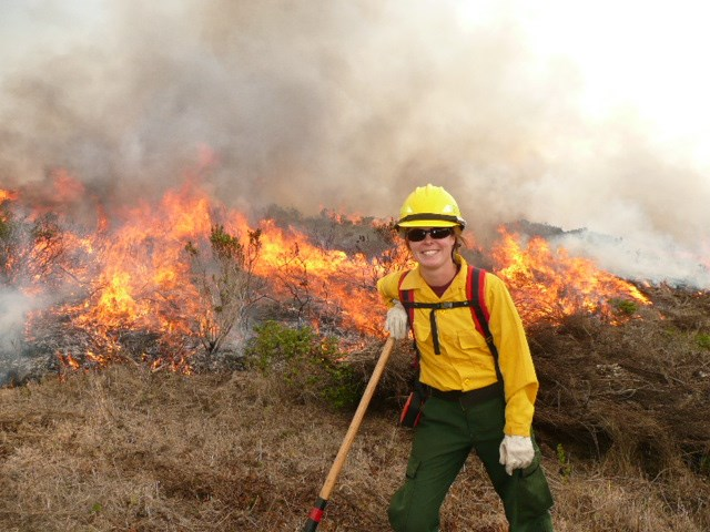 Fire ecologist Alison Forrestel on the scene at a wildfire.
