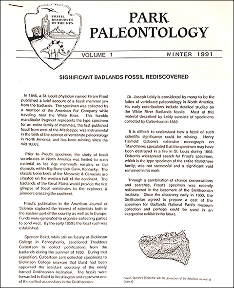 park paleo newsletter historic cover winter 1991