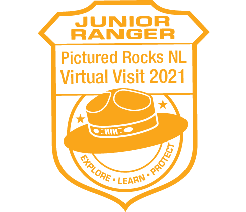 Orange color stamp which reads 'Junior Ranger: Pictured Rocks National Lakeshore Virtual Visit 2021'