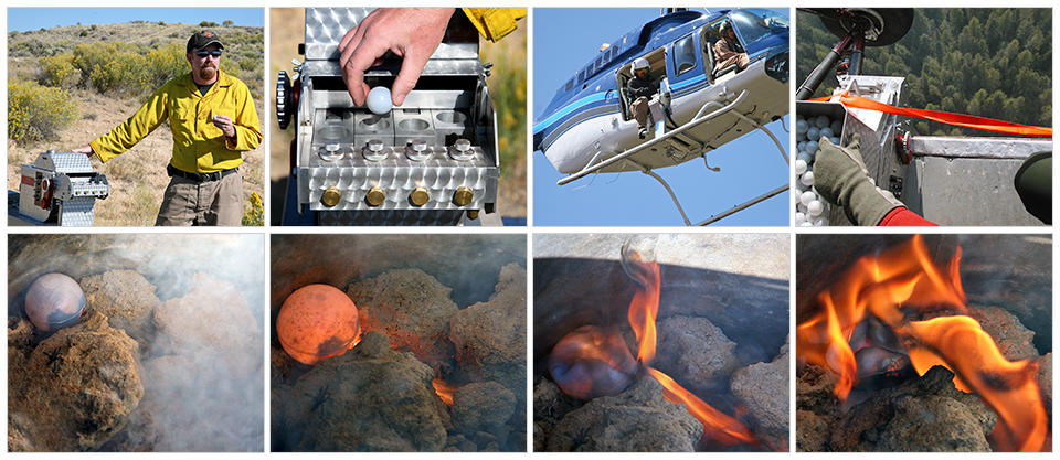 A series of eight photos show the operation of the plastic sphere dispenser. The sequence shows an operator on the ground loading a plastic ball, then showing the operation from the helicopter, then the ball falls to the ground where it ignites.