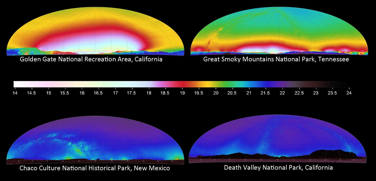 Graphic compares all sky brightness from four locations from brightest to darkest: Golden Gate NRA, Great Smoky Mountains NP, Chaco Culture HP, and Death Valley